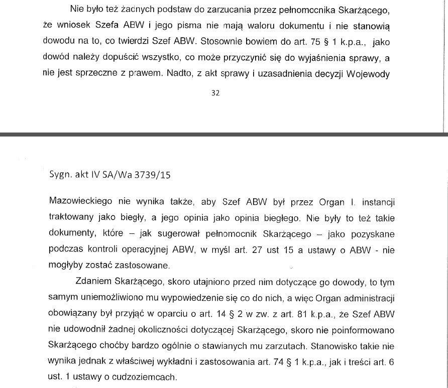 Wyrok w Imieniu Rzeczypospolitej Polskiej w sprawie Leonida Swiridowa. Str.32-33. Wojewódzki sąd administracyjny w Warszawie. 10 listopada 2017 r.