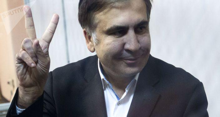 Były prezydent Gruzji, były gubernator obwodu odeskiego Micheil Saakaszwili podczas rozprawy sądowej w Kijowie
