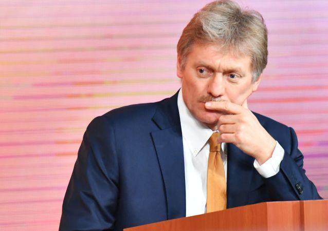Rzecznik prezydenta Rosji Dmitrij Pieskow na corocznej konferencji prasowej prezydenta Rosji