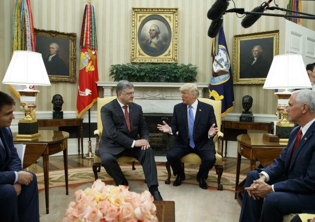 Prezydent Ukrainy i USA Petro Poroszenko i Donald Trump na spotkaniu w Waszyngtonie