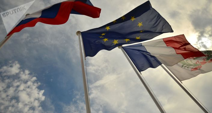 Flagi Rosji, UE, Francji, Nicea