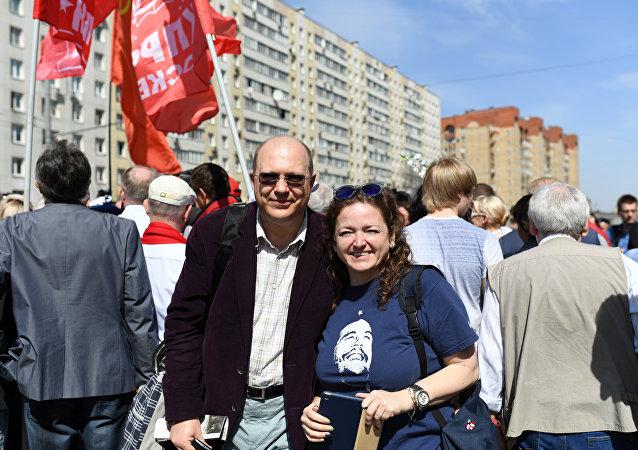 Agnieszka Wołk-Łaniewska i Leonid Swiridow. Moskwa. 1 maja 2017 roku.