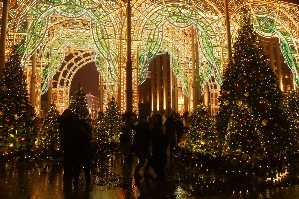 Świąteczne iluminacje w Moskwie