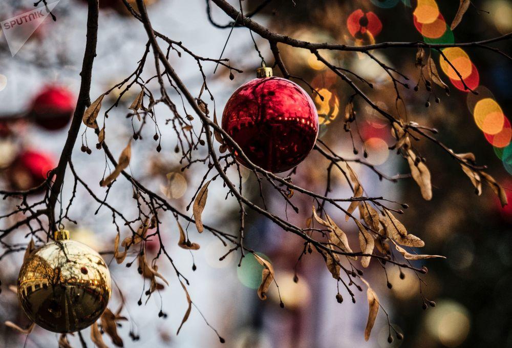 Dekoracje świąteczne na ulicach Moskwy