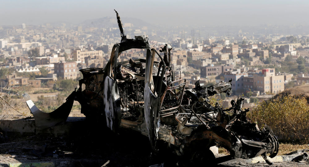 Skutki nalotów w jemeńskim mieście Sana