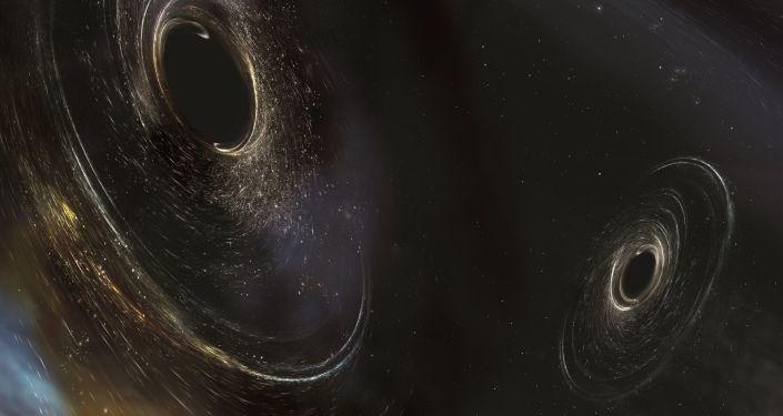 Artystyczne przedstawienie czarnych dziur zlokalizowanych 3 miliardy lat świetlnych od Ziemi