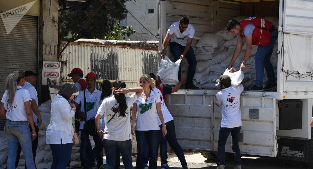 Ładunek z pomocą humanitarną dla mieszkańców Damaszku