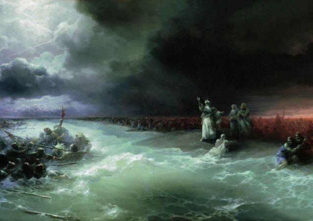 Obraz I. Ajwazowskiego Przejście Izraelczyków przez Morze Czerwone