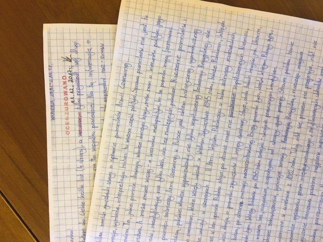 List Mateusza Piskorskiego do żony. Na zdjęciu widać pieczątkę Ocenzurowano