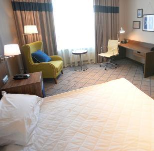 Pokój w hotelu Sheraton w Sarańsku, budowany na Mistrzostwa Świata w Piłce Nożnej 2018
