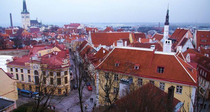 Widok na zimowy Tallinn