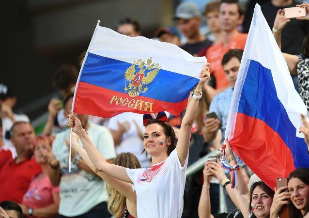 Kibice reprezentacji Rosji w czasie meczu towarzyskiego między reprezentacjami Węgier i Rosji