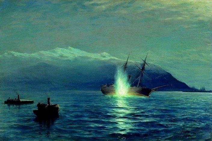 """Obraz L. F. Lagorio Zatopienie tureckiej parowej kanonierki """"Intibach"""" na redzie Batumi 14 stycznia 1878 roku przez jeden z transportowców — okręt """"Wielki Książę Konstantyn"""""""