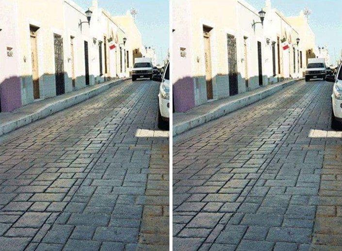 Złudzenie optyczne z równoległymi drogami