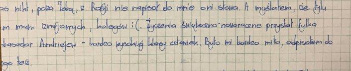 List Mateusza Piskorskiego. Podziękowanie dla Ambasadora Rosji w Warszawie