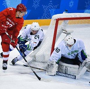 Mecz Rosja-Słowenia, hokej
