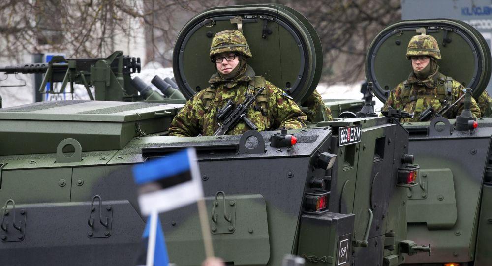 Defilada estońskich wojsk na cześć Dnia Niezależności Estonii w Narwie