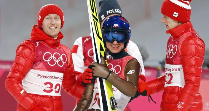 Skoczkowie narciarscy Kamil Stoch, Maciej Kot, Dawid Kubacki i Stefan Hula