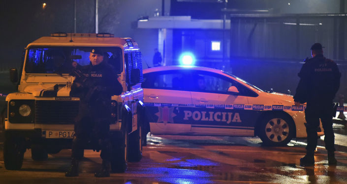 Policja pod ambasadą USA w Podgoricy, Czarnogóra