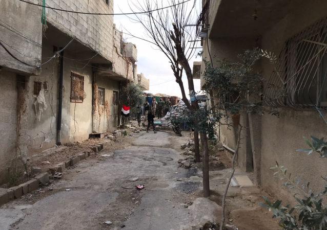 Obóz uchodźców w Wafidinie w regionie korytarza humanitarnego między Damaszkiem i Wschodnia Gutą