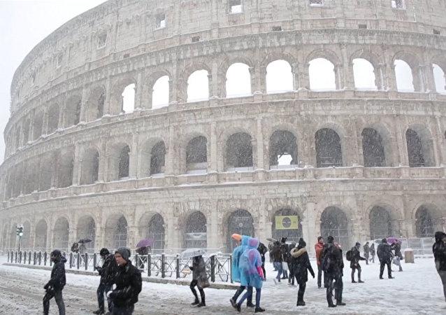 Śnieg w Rzymie