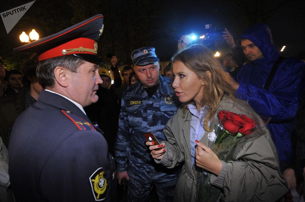 Ksenia Sobczak na demonstracji opozycji w Moskwie