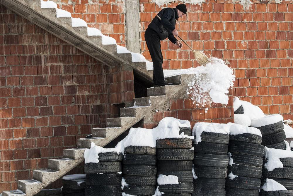 Opady śniegu w Serbii
