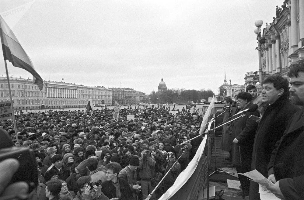 Miting przeciwko wojnie w Czeczenii