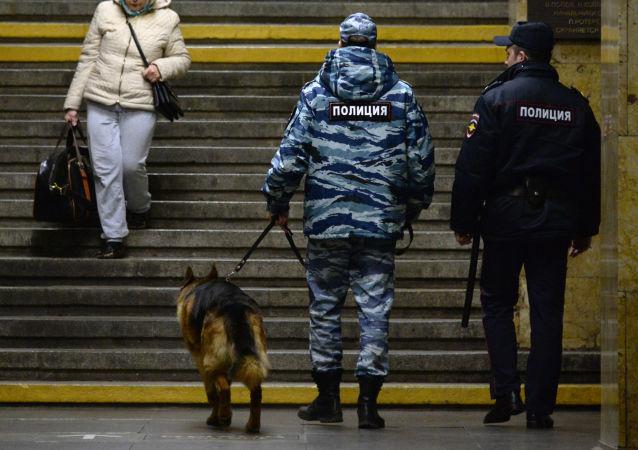 Pracownicy policji z psem na stacji metra