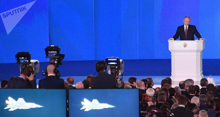 Prezydent Rosji Władimir Putin wygłasza coroczne orędzie do Zgromadzenia Federalnego. 1 marca 2018 roku