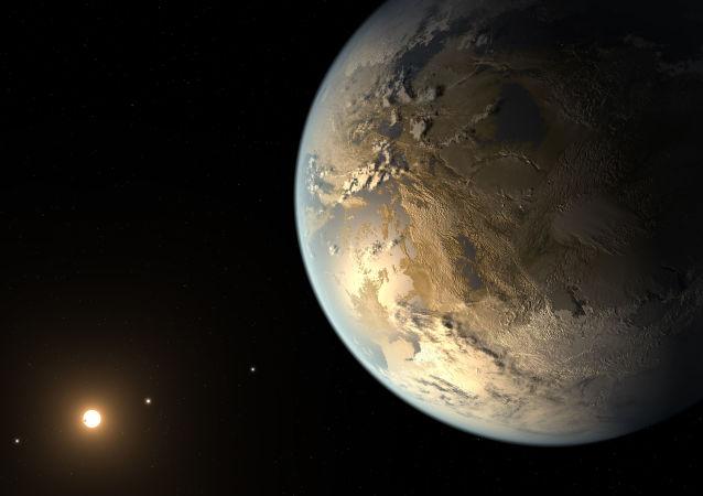 Artystyczne przedstawienie planety Kepler-186f potencjalnie nadającej się do życia