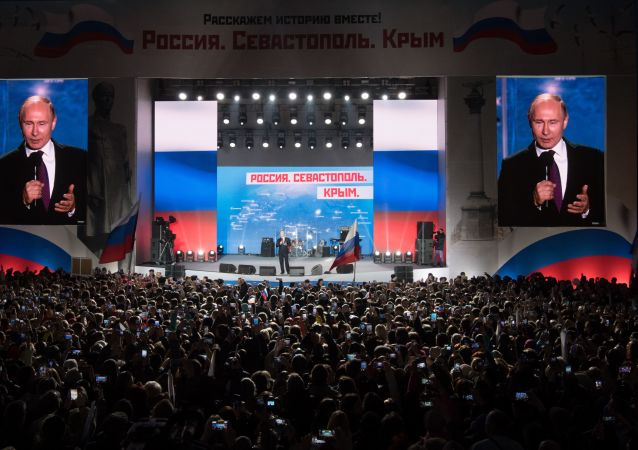 """Prezydent Rosji Władimir Putin przemawia na wiecu """"Rosja, Sewastopol, Krym"""" w Sewastopolu"""