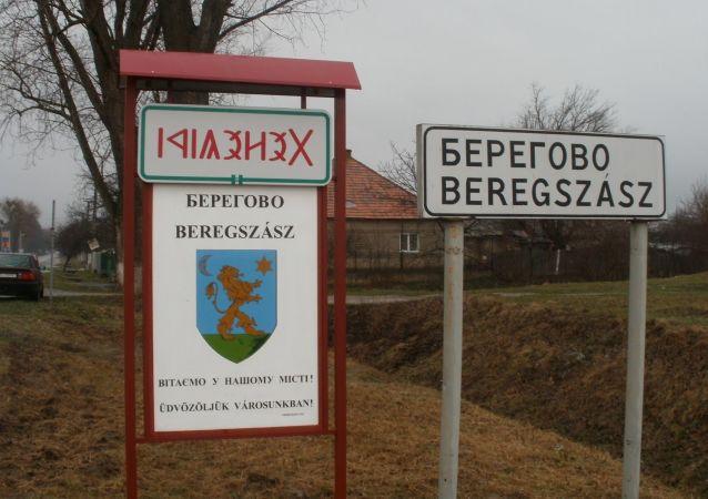 Napis w językach ukraińskim i węgierskim na tabliczce przy wjeździe do Berehowa w obwodzie zakarpackim Ukrainy