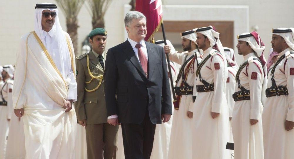 Prezydent Ukrainy Petro Poroszenko w czasie wizyty w Katarze