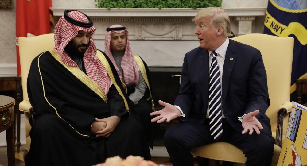 Książę koronny Arabii Saudyjskiej Muhammad ibn Salman ibn Abd al-Aziz Al Su'ud i prezydent USA Donald Trump w Waszyngtonie