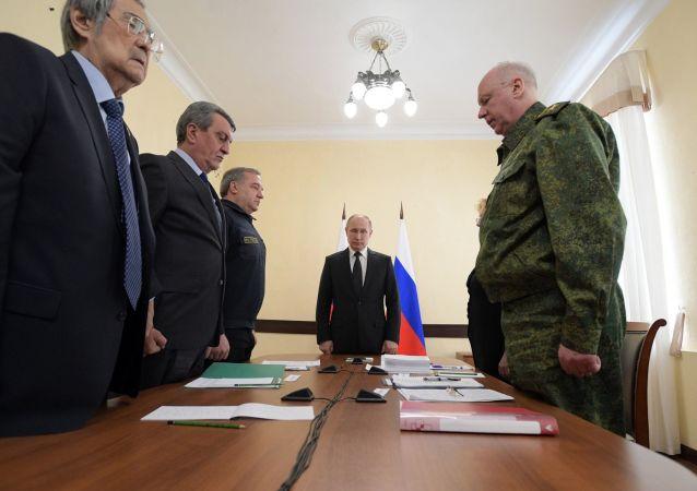 Prezydent Rosji Władimir Putin uczcił pamięć zabitych w pożarze w Kemerowie