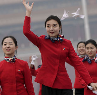 Dziewczyny na placu w Pekinie