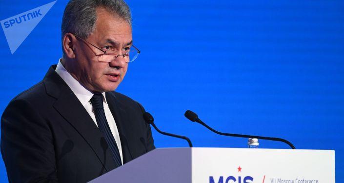 Minister obrony Rosji Siergiej Szojgu na VII Moskiewskiej Konferencji Bezpieczeństwa Międzynarodowego
