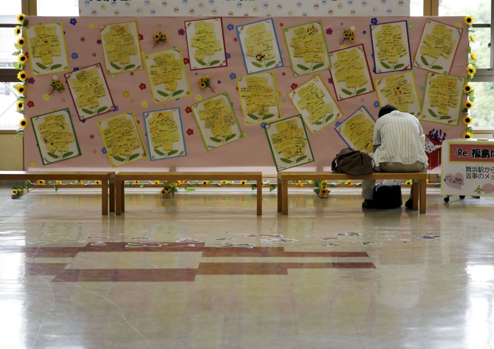 Turysta na stacji Fukushima