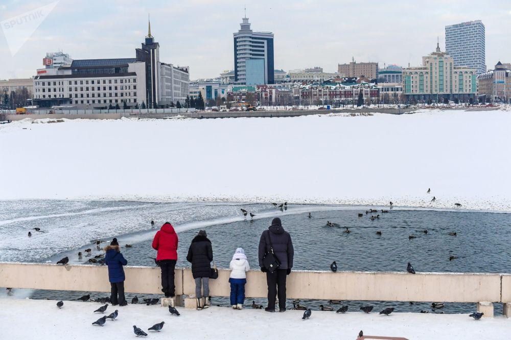 Ludzie na przystani w Kazaniu