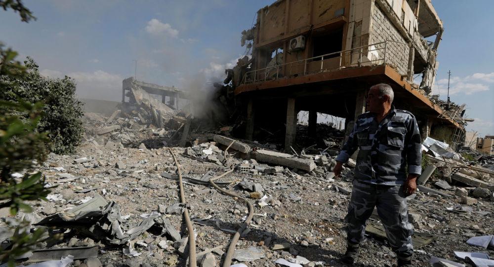 Zburzony ośrodek naukowo-badawczy w Damaszku