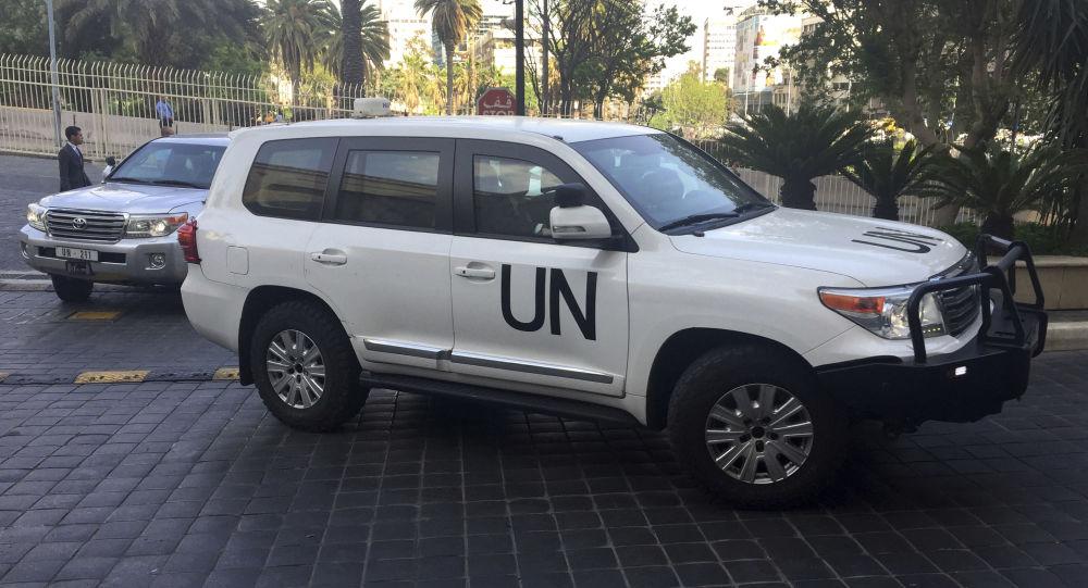 Samochód pracowników ONZ w Damaszku