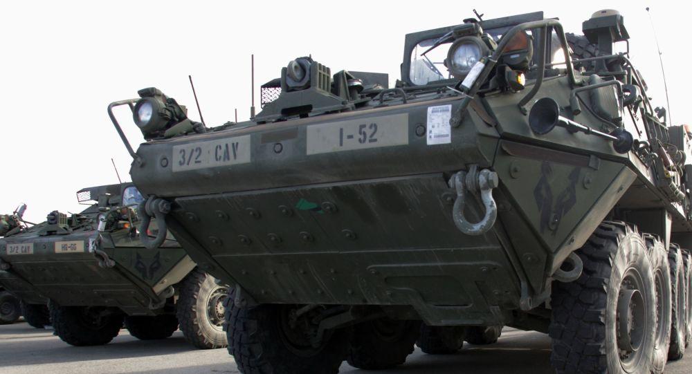 Amerykańskie wozy opancerzone Stryker w Rydze
