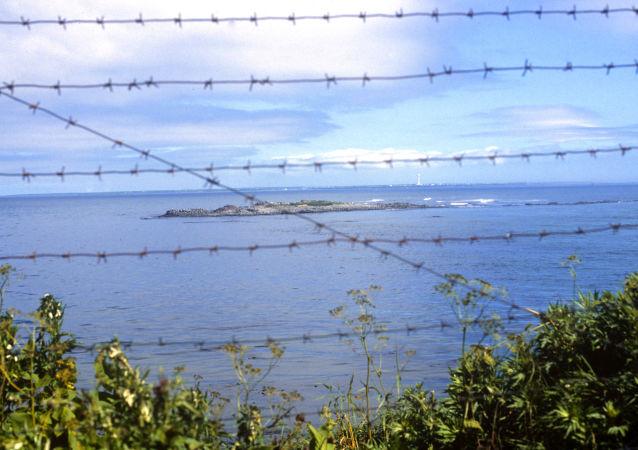 Widok na cieśninę Sowiecką na Pacyfiku dzielącą Rosję od Japonii
