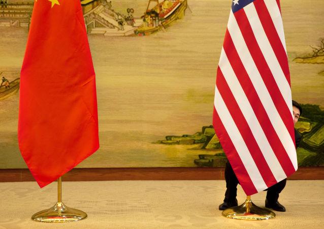 Flagi USA i Chin