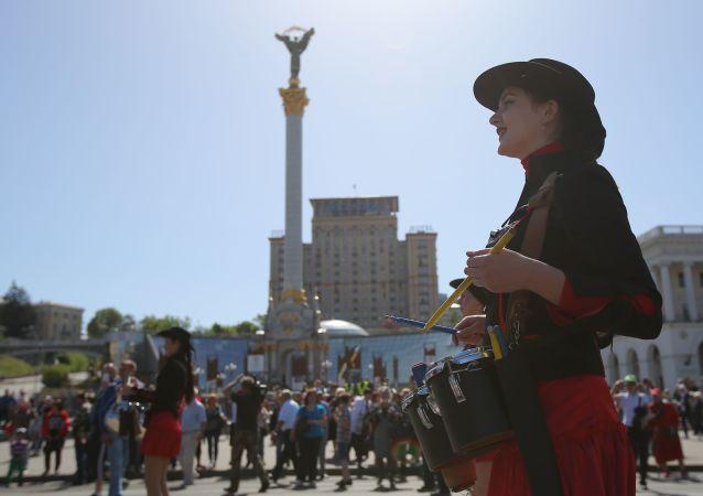 Demonstracja pierwszomajowa w Kijowie