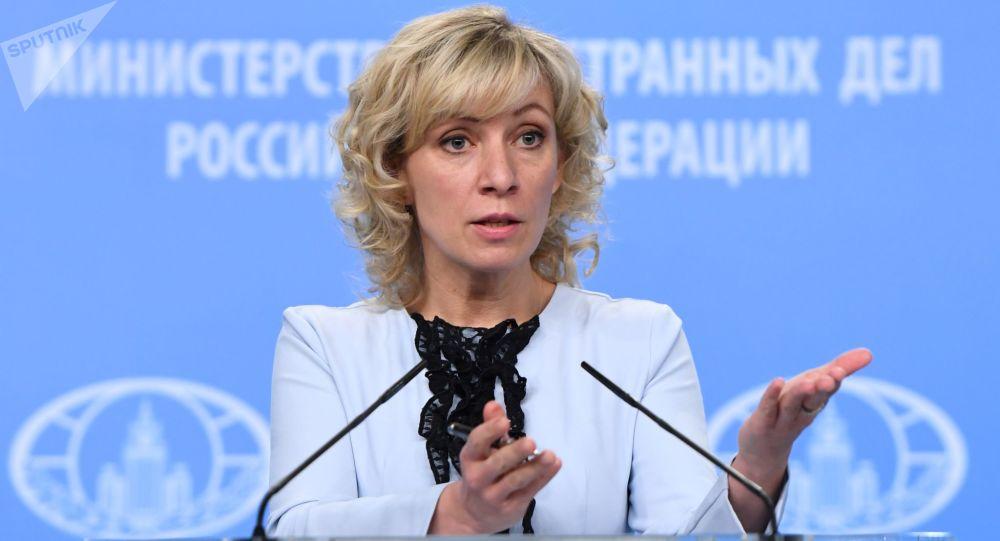 Rzeczniczka Ministerstwa Spraw Zagranicznych Federacji Rosyjskiej Maria Zacharowa podczas briefingu na temat aktualnych problemów polityki zagranicznej