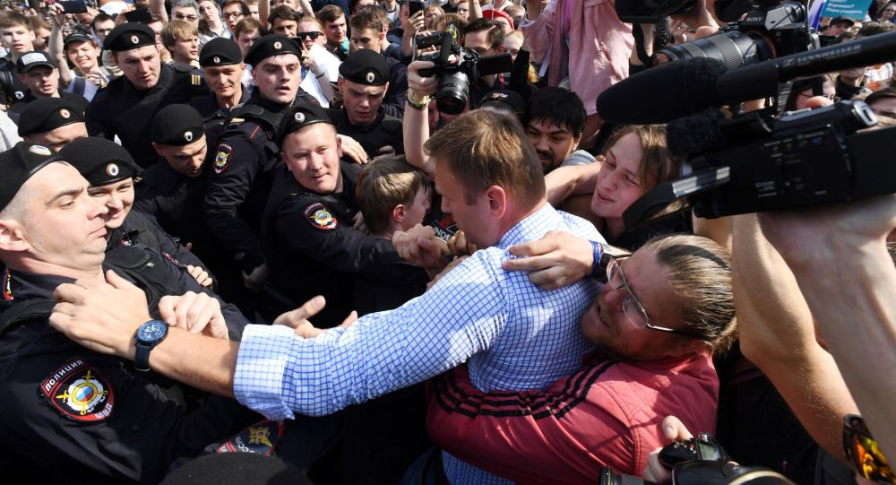 Na demonstracji w centrum Moskwy zatrzymano Alieksieja Nawalnego