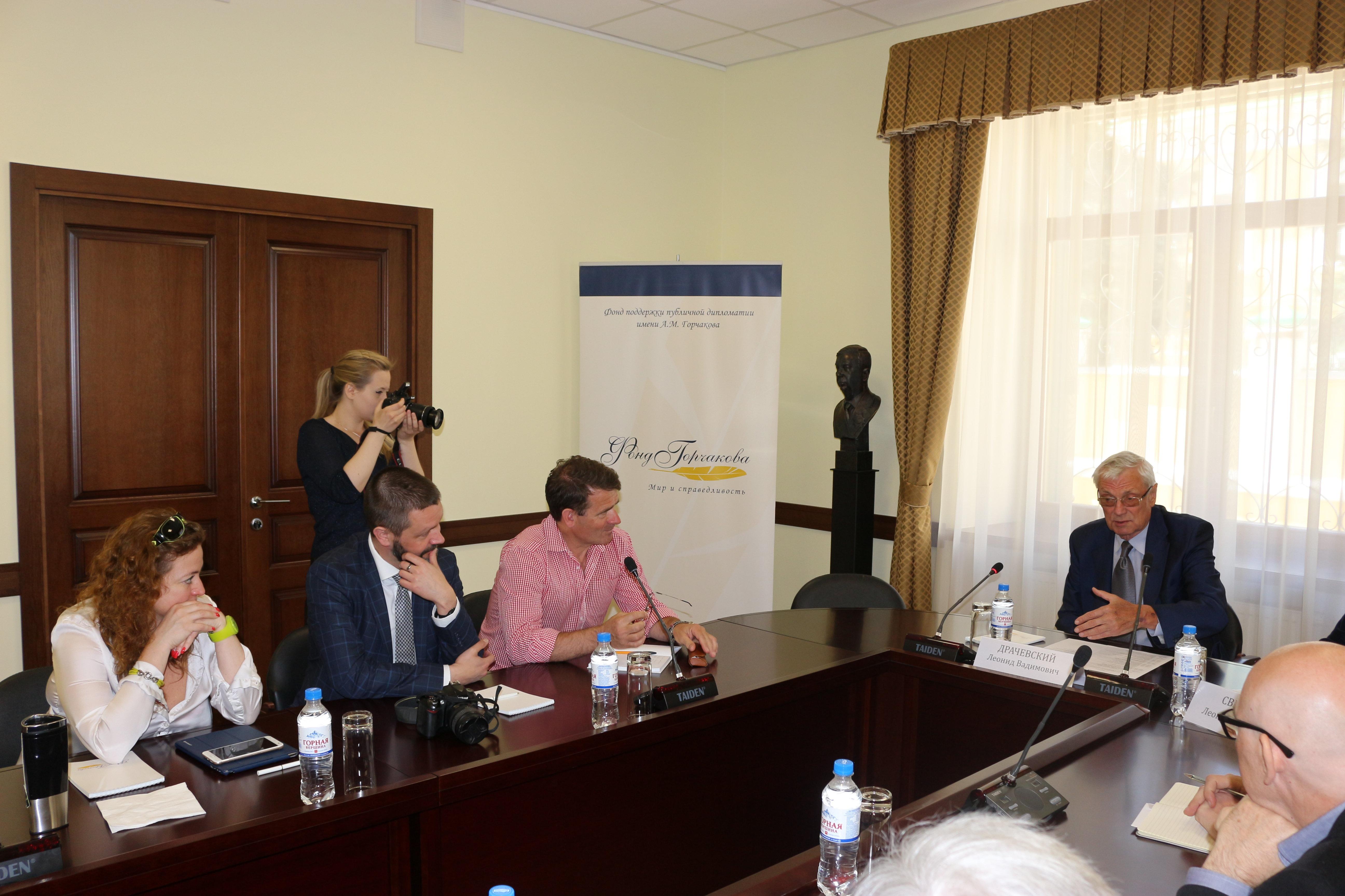 Spotkanie w Fundacji Wsparcia Dyplomacji Publicznej im. Gorczakowa. Dyrektor Fundacji Leonid Draczewski. 10 maja 2018 r.