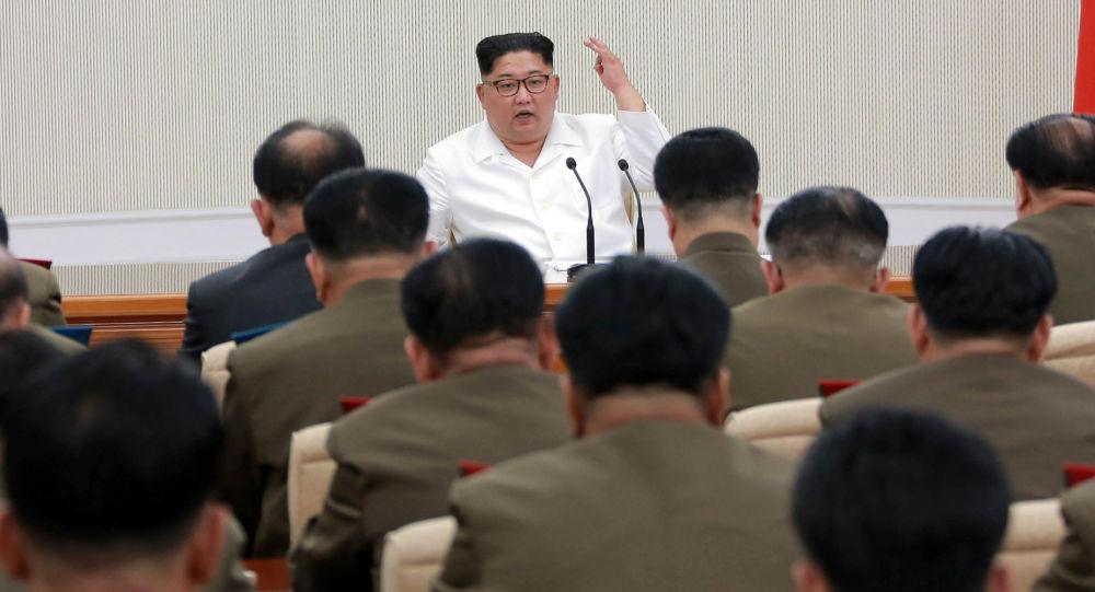 Lider KRLD Kim Dzong Un na pierwszym w ciągu ostatnich dwóch lat rozszerzonym posiedzeniu Centralnej Komisji Wojskowej Partii Pracy Korei